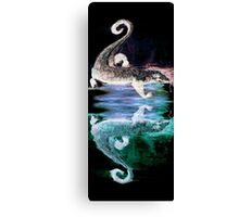 Monitor Lizard Reflection on Black Canvas Print