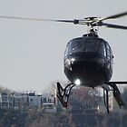 Helicopter Landing at Heliport, Manhattan West, New York City by lenspiro