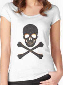 Skull and crossbones  danger warning  Women's Fitted Scoop T-Shirt
