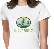 city of Rainier Washington truck stop novelty  Womens Fitted T-Shirt