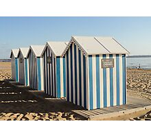 Baby blue beach huts.. Photographic Print