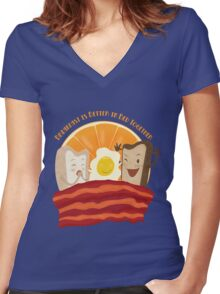 Breakfast Is Better In Bed Together Women's Fitted V-Neck T-Shirt