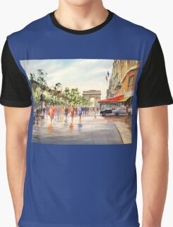 Champs Elysees and Arc De Triomphe Graphic T-Shirt