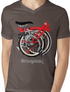 Brompton Bicycle Folded Mens V-Neck T-Shirt