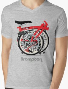 Brompton Bicycle Folded Mens V-Neck T-Shirt