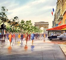 Champs Elysees and Arc De Triomphe by bill holkham