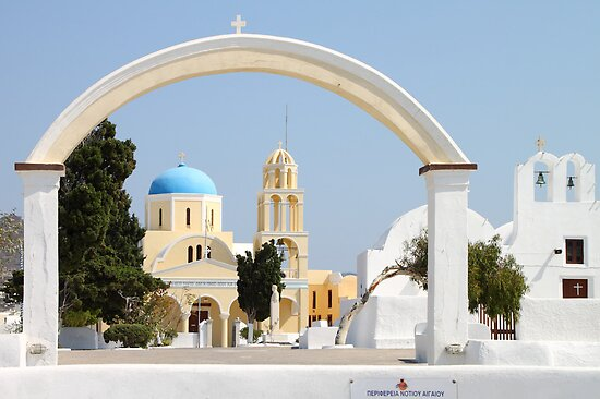 Churches with Archway, Oia, Santorini by Carole-Anne