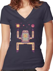 Space Sloth Women's Fitted V-Neck T-Shirt