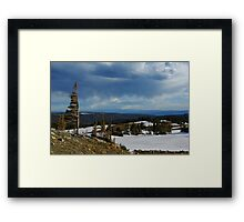 Wind bent trees, Wyoming Framed Print