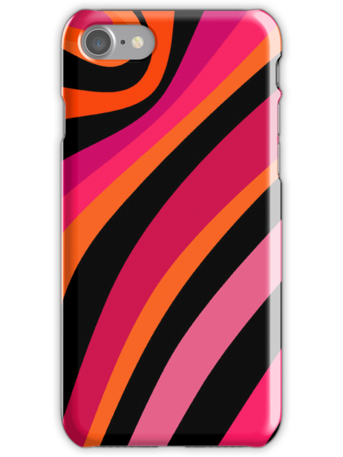 Stripes - magenta, orange, pink and black pattern by CatchyLittleArt