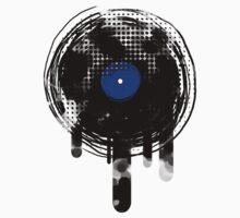 Melting Vinyl Records Vintage Blue T-Shirt by Denis Marsili