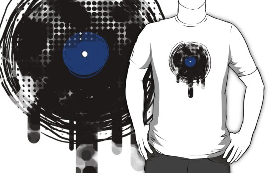 Melting Vinyl Records Vintage Blue T-Shirt by Denis Marsili - DDTK