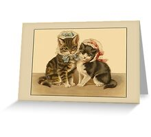 Cats with Bonnets Greetings Greeting Card