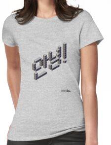 8-bit Annyeong! T-shirt (Black) Womens Fitted T-Shirt