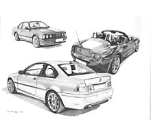BMW 3 series (E46), 6 Series (E24) & Z4 Roadster (E85) Photographic Print