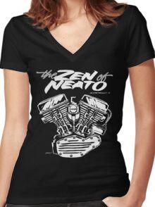 ZON pan cursive Women's Fitted V-Neck T-Shirt