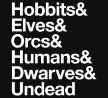 Hobbits Elves Orcs Humans Dwarves Undead by aizo
