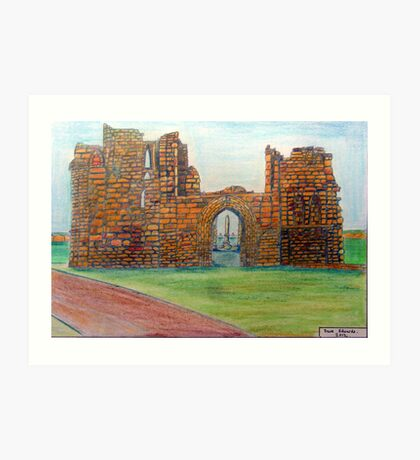 372 - TYNEMOUTH PRIORY CHURCH - DAVE EDWARDS - COLOURED PENCLS - 2012 Art Print