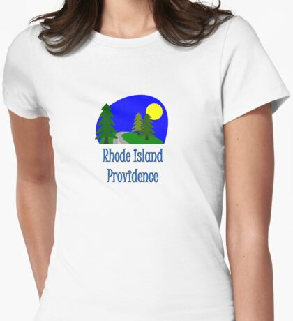 Providence Rhode Island truck stop vacation novelty tee Womens Fitted T-Shirt
