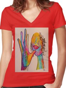 MOTHER - American Sign Language ASL Women's Fitted V-Neck T-Shirt