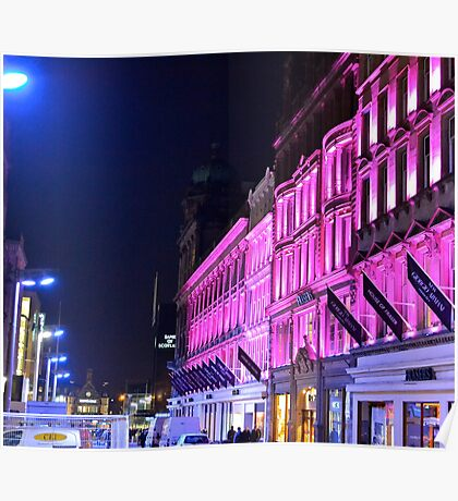 Glasgow City Centre at night. Poster