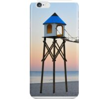 Serene Beach Sunrise with Swimmer and Seagulls iPhone Case/Skin