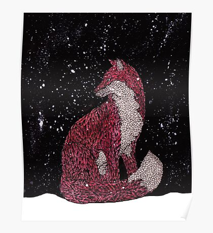 Leafy Fox in the Snow Poster