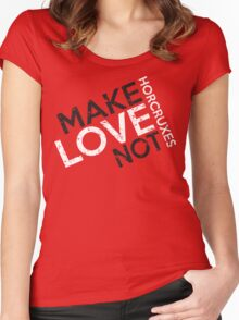 MAKE LOVE NOT HORCRUXES IN RED Women's Fitted Scoop T-Shirt