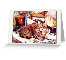 Cat on Desk Greetings Greeting Card