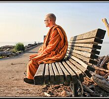 Monk on a Bench by Mikell Herrick