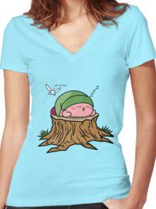 Sleepy Hero of time Women's Fitted V-Neck T-Shirt