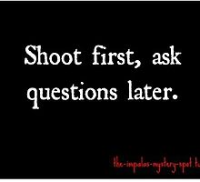 Shoot first, ask questions later. by ilrmst