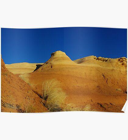 Orange hills and blue sky Poster