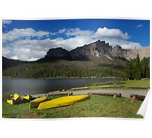 Yellow canoes and Brooks Lake, Wyoming Poster