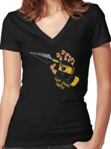 Get Over Here!!! Women's Fitted V-Neck T-Shirt