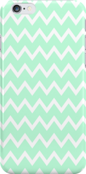 Mint Green Zigzag Stripes iPhone Case  by hipsterapparel