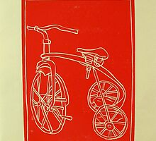 red tricycle lino print by donnamalone