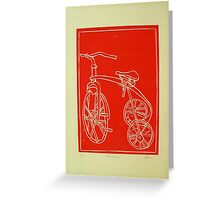 red tricycle lino print Greeting Card