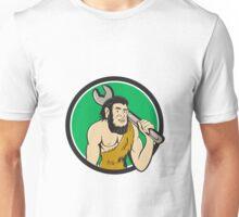 Neanderthal CaveMan With Spanner Circle Cartoon Unisex T-Shirt