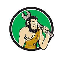 Neanderthal CaveMan With Spanner Circle Cartoon Photographic Print