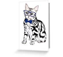 Hipster Cat Greeting Card