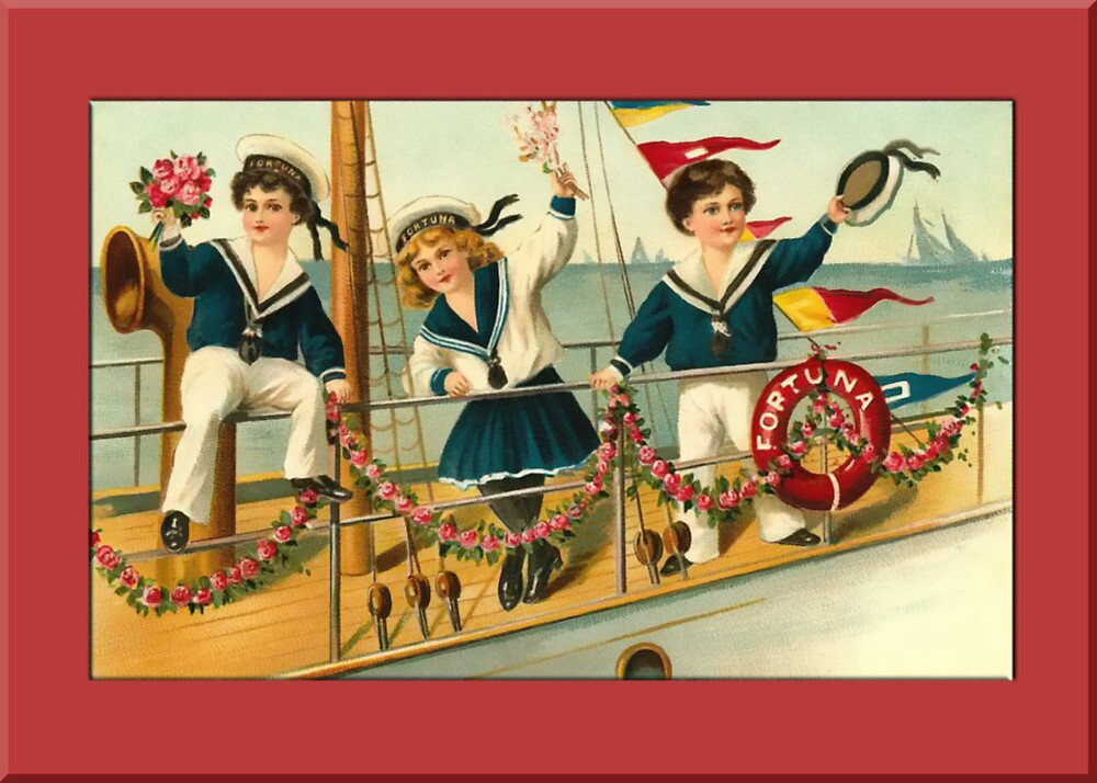 Children on Ship Greetings by Yesteryears