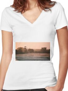 Brazos Bend Landscape Women's Fitted V-Neck T-Shirt