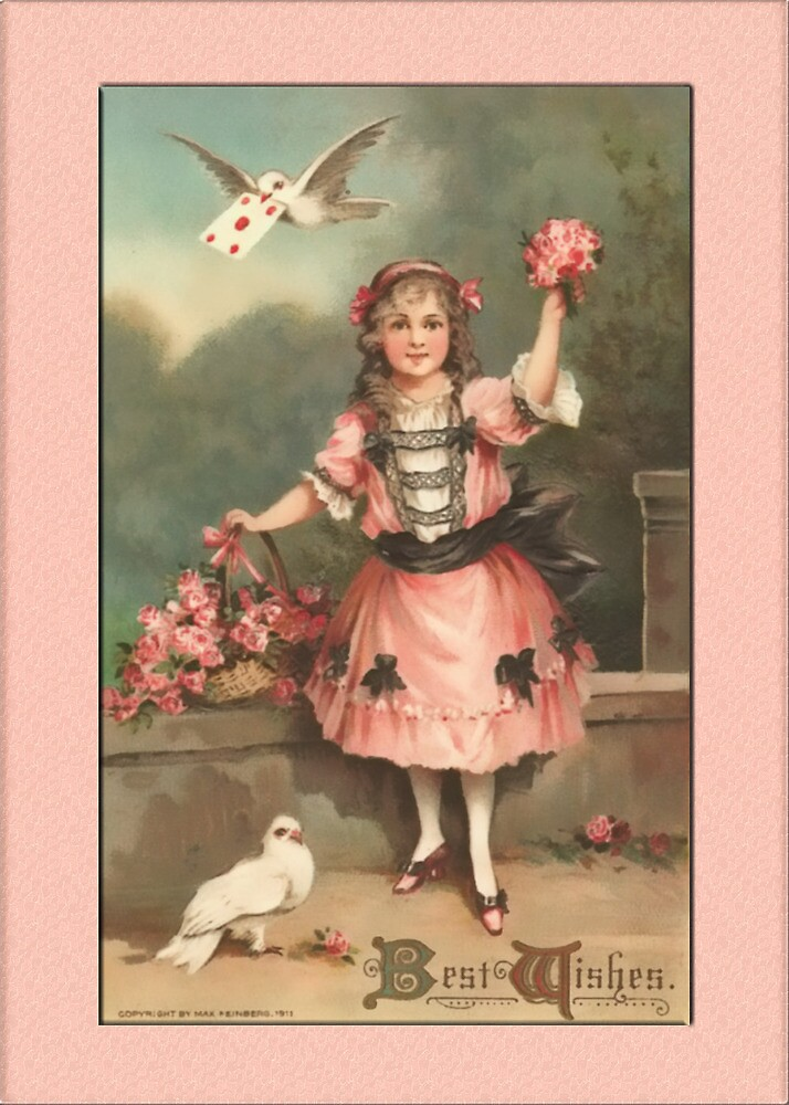 Vintage Best Wishes Girl Greetings by Yesteryears
