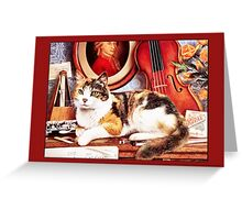 Cat with Instruments Greetings Greeting Card