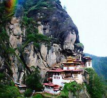 Tigers Nest Bhutan and prayer flags 4 rainbow by Adam Asar