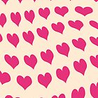 Pink hearts pattern on beige by CatchyLittleArt