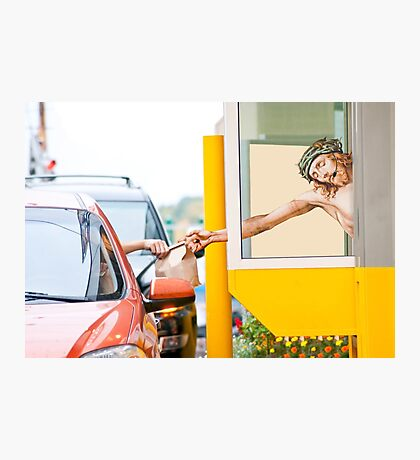 Jesus Serving Up A #7 With A Large Soda Photographic Print