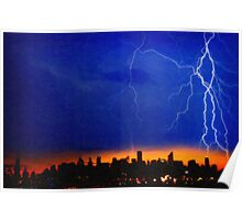 strikes and thunders bolts over big apple Poster