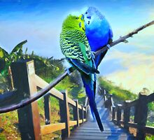 love birds and majestic landscape 3 by Adam Asar